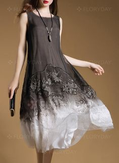 Dress - $53.99 - Color Block Embroidery Tank Camisole Neckline A-line Dress (1955249799)