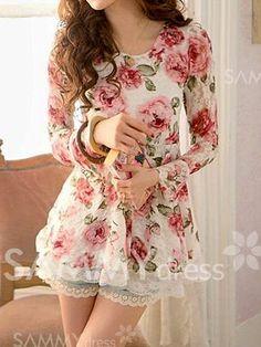 Blusa de Encaje de Bajo cuello redondo de Impresión de Flores de Moda de Mangas Completas para las mujeres