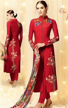 Tangerine Red Designer Salwar Kameez