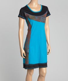 Look at this Turquoise Floral Scoop Neck Sheath Dress on #zulily today!