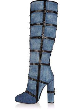 fd1d164598ff0 Amy Q Women s Denim Thigh High Over The Knee Boots Peep Toe High Heel Boots  Size