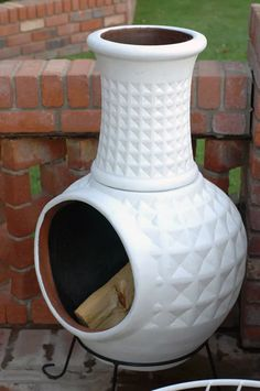 step find ridiculously good deal on terra cotta chiminea, step paint it gloss white or gloss color, step enjoy the awesome results (fire pit for deck front porches) Outside Living, Outdoor Living, Outdoor Decor, Outdoor Fire, Outdoor Spaces, Outdoor Projects, Diy Projects, Little Green Notebook, Terracota