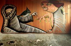 phlegm, faunagraphic and rocket - collaboration , via Flickr Sheffield Art, Urban Painting, Best Street Art, Street Artists, Science And Nature, Collaboration, Pop Art, Graffiti, Museum