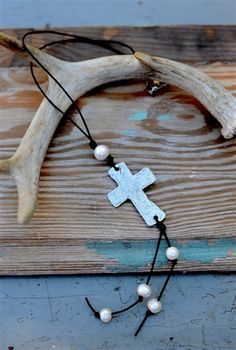 Wrapped Leather and Pearl Cross Necklace. Use promo code 'All' to get 15% off your entire order from the All Inspired Boutique.
