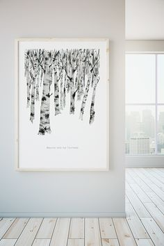 Jean Choe Art & Design Birch Forest Watercolor Landscape