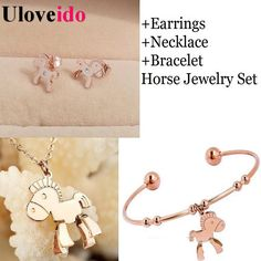 Find More Jewelry Sets Information about Rose Gold Plated Horse necklace Bracelet Earrings Bridal Jewelry Sets for Women Wedding Accessories Animal Jewellry Set Ulove,High Quality necklace cancer,China set lingerie Suppliers, Cheap necklace packaging from Uloveido Official Store on Aliexpress.com