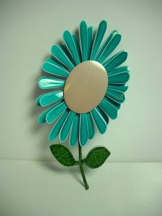 Vintage Enamel Flower Pin Turquoise Teal Spring by wallstantiques, $9.99