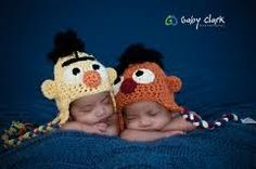 Bert and Ernie hats on twins, fun!