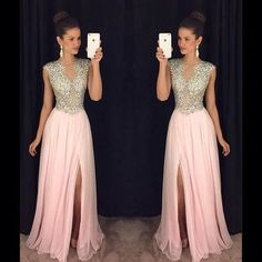 A237 sexy v neck long prom dresses, sexy side slit long prom dresses, heavy beade d handmade charming prom gowns 2016