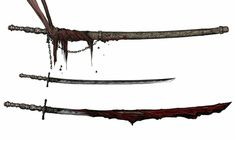 Anime Weapons, Sci Fi Weapons, Weapon Concept Art, Bloodborne Concept Art, Bloodborne Art, Dark Souls 2, Fantasy Sword, Fantasy Weapons, Katana