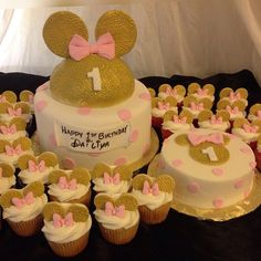 Gold, Pink, and White Minnie Mouse Themed 1st Birthday Cake w/Matching Cupcakes and Smash Cake ...
