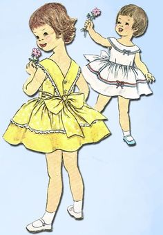 Vintage Simplicity Sewing Pattern 3458 Toddler Girls Sun Dress Size 2 - September 21 2019 at Vintage Kids Fashion, Vintage Kids Clothes, Vintage Girls Dresses, Vintage Dress Patterns, Childrens Sewing Patterns, Simplicity Sewing Patterns, Patron Vintage, Girls Party Dress, Sewing Projects