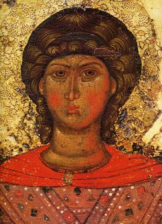 DETAIL of Archangel Michael. The icon supposed to be the temple icon of Archangel Church on the Kotorosl in Yaroslavl, erected by Princess Anna, the wife of Prince Fyodor Rostislavich the Black. Late 13th century. State Tretyakov Gallery