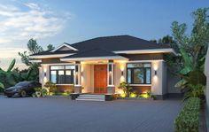 Village House Design, Kerala House Design, House Front Design, Modern Bungalow House Design, Bungalow House Plans, Morden House, Philippines House Design, Architect Design House, One Storey House