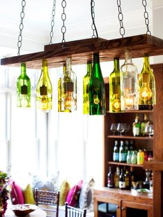 Save wine bottles from special occasions and use them to make a personalized chandelier. Before you begin the project, mark the label on each bottle with the date and event. This way you can look up at your new light fixture and reminisce about the time each bottle was enjoyed.