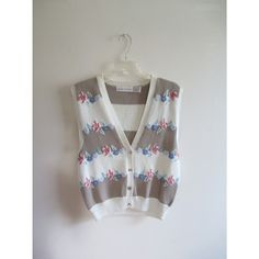 Vintage Robert Scott Ltd Pink Cream Pastel Floral Print Striped Sweater Vest Top Sz Large
