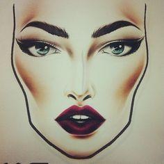 Mac chiseled cheeks and dark lips