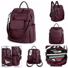 ﹩50.17. Shoulder Bag Handbag Travel Women Rucksack School Leather Satchel Womens Red N    Style - Handbag, Color - Red, Material - Leather, Theme - School, Type - Backpack, Gender - Women, Product Dimensions - 11.2 x 6.5 x 12.6 inches, UPC - 601285959573