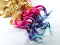 Lauren Conrad Inspired - Human Hair Extensions - Dip Dyed Tips / Tie Dyed Clip Ins // Blonde Pink Purple Turquoise Blue / Ombre Rainbow. via Etsy.