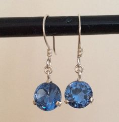 Sterling Silver Earrings with Blue Cubic Zirconia