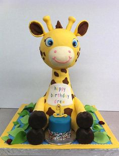 Toy Giraffe Birthday Cake ~ so breakfast breakfast Giraffe Birthday Cakes, Giraffe Party, Giraffe Cakes, Giraffe Toy, Pretty Cakes, Cute Cakes, Beautiful Cakes, Amazing Cakes, Animal Cakes