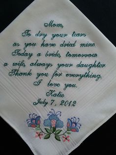 personalized wedding handkerchief free gift by elegantmonogramming, $28.00