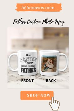 "If you want a gift that's sure to make Dad laugh out loud, check this hilarious mug out! He'll love drinking coffee from this ""Best farter ever. Oops! I meant father"" mug. Brighten his birthday, Father's Day, or holiday with a funny quote and a little potty humor! You can personalize it by uploading a photo. Pick one of all the kids or one of a father with his son or daughter. #fathergifts#funnygifts#Fatherday#holiday#mug Funny Gifts For Dad, Gifts For Father, Personalized Gifts For Dad, Drinking Coffee, Custom Photo Mugs, Dad Birthday, Pick One, Laugh Out Loud, Funny Quotes"