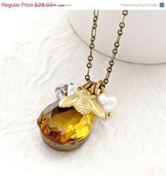 July 4 SALE Bee Necklace Topaz Necklace Rhinestone Necklace Bee Charm Necklace Honey Gold Necklace Long Necklace - Honey Deux by laurenblythedesigns on Etsy https://www.etsy.com/listing/97410858/july-4-sale-bee-necklace-topaz-necklace