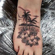 Hawaiian Tattoo Designs 50 Superb Palm Tree Tattoo Designs and Meaning Tatoos Hawaiian Hawaii Tattoos, Beach Tattoos, Palm Tree Tattoos, Beach Inspired Tattoos, Ocean Tattoos, Tropical Tattoo, Hibiscus Tattoo, Tattoos For Women Flowers, Foot Tattoos For Women