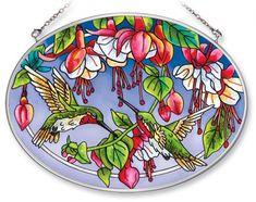 Cascading Fuchsia Hummingbirds Stained Glass Suncatcher