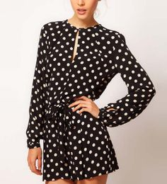 $39.99 Dots Print Back Slit Long Sleeves Romper Shorts @ MayKool.com...so cute for my engagement party outfit in July!