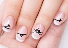 Acrylic Nails with Hearts Birds for Valentine's Day Nail Art