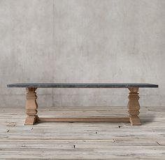 Salvaged Wood U0026 Marble Trestle Rectangular Dining Table. Restoration  Hardware ...