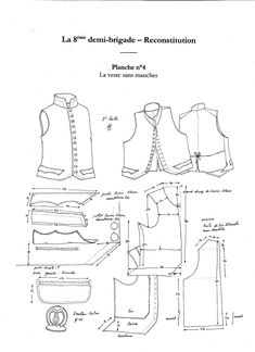 French waistcoat or Gillet of the demi brigade Military Costumes, Military Dresses, Historical Costume, Historical Clothing, Vintage Knitting, Vintage Sewing, Clothing Patterns, Sewing Patterns, 1800s Clothing
