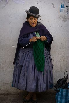 Knitting on the street in Bolivia.... by Zalacain, via Flickr