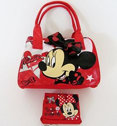Disney Minnie Mouse Red Hearts Design Handbag and Wallet