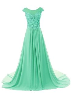 ASA Cap Sleeve A-line Chiffon Lace Evening Dress Prom Gown Long