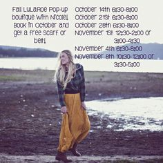 Book a party of this post and get a free scarf or belt for fall! Plus, hey even more free stuff at your party! Perfect time to book for the holidays! #boutique #lularoe #lucyskirt #lularoewithnicole #holidaysarecoming #christmasshopping email me at lularoewithnicole@gmail.com