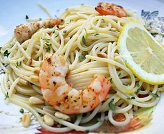 Lemon Pasta With Grilled Shrimp - A great summer pasta from Italian Food Forever