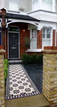 Bespoke Front Garden Bike Store Paving Slate Patio Front Metal Wrought Iron Rail And Victorian Mosaic Tile Path Yellow Brick Garden Wall Wimbledon London - London Garden Design Victorian Front Garden, Victorian Front Doors, Victorian Porch, Victorian Terrace House, Victorian Homes, Victorian Windows, Edwardian Haus, Victorian Mosaic Tile, Black Front Doors