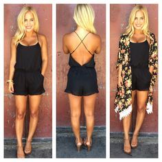 Simple black romper with the cover up over it . Very cute and look comfortable Fashion Mode, Look Fashion, Fashion Outfits, Womens Fashion, Classy Fashion, Fashion Black, Fashion Vintage, Grunge Fashion, 80s Fashion