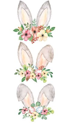 Easter holiday decor, digital card making PNG Easter Bunny Ears, Easter Eggs, Watercolor Cards, Watercolor Paintings, Easter Illustration, Bunny Painting, Bunny Art, Baby Prints, Nursery Art