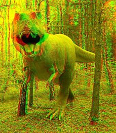 anaglyph t-rex dinosaur. Foto 3d, Image 3d, Garden Of Earthly Delights, 3d Pictures, Glitch Art, Fun At Work, Jurassic World, Photomontage, T Rex