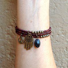 bf6317c33c50 Rosewood mala bracelets with Hamsa hand and hand painted evil eye charm  Paletas