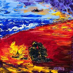 """Two-gether Thru Whatever-Keep the Fire Burning, SOLD 8""""x8"""", Oil on Canvas. Couple silhouette by beach bonfire. Palette Knife Painting; Colors of Cynthia Christine"""