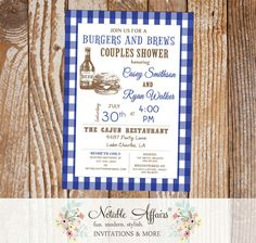 Burgers and Beer on blue gingham invitation