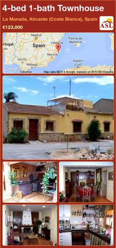 Townhouse for Sale in La Murada, Alicante (Costa Blanca), Spain with 4 bedrooms, 1 bathroom - A Spanish Life Murcia, Alicante, Valencia, Townhouse, Property For Sale, Terrace, Spanish, Lounge, Patio