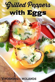 Grilled Peppers with Eggs by Noshing With The Nolands - Eggs, feta cheese, and fresh herbs are baked into sweet bell peppers. A low carb breakfast or meatless dinner #CanadianEggs