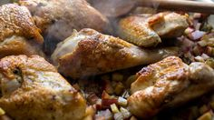 NYT Cooking: Skillet Chicken With Rhubarb.