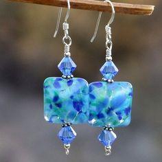 RESERVED. Blue Lampwork Handmade Earrings Swarovski OOAK Jewelry   ShadowDogDesigns ArtFire Gallery